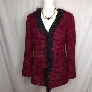 NEIMAM MARCUS Exclusive Tweed Ruffled Lace Blazer